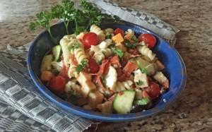 Italian Style Pasta Toss in blue bowl, italian recipe, pasta recipe