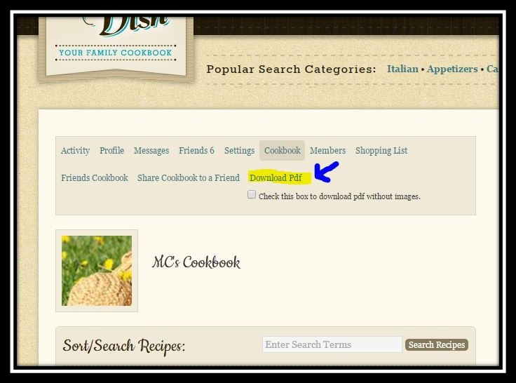 save recipes as PDF, download recipes, online cookbook