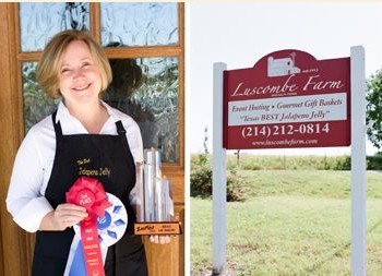 Luscombe Farm sign and owner