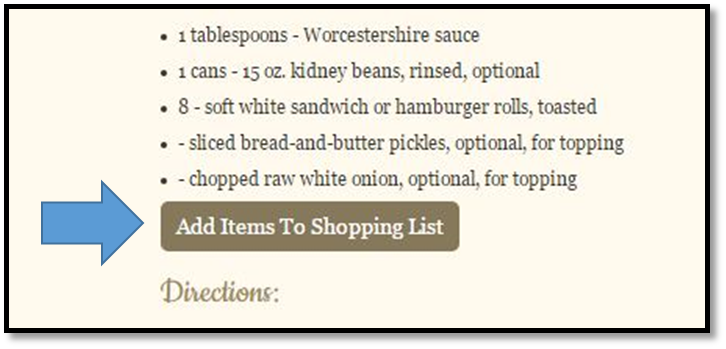 grocery shopping list, recipe app