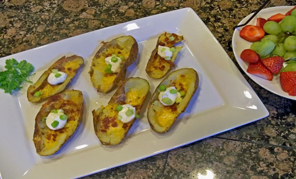 potato skins, baking, bacon, recipes, recipe, party, appetizer