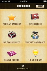 app menu image, dish dish online cookbook app, app dashboard image