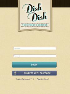 app login screen, app release, Dish Dish online cookbook app