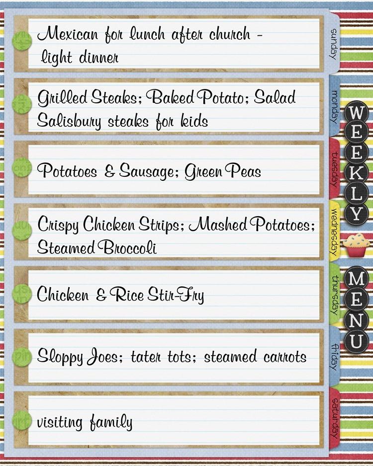 menu planning, weekly menu, whats for dinner, daily menu, meal plan, planning meals, digital cookbook