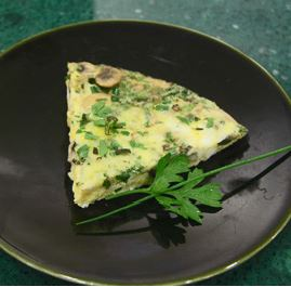skillet baked mushroom herb omelet, easy recipe, dinner idea