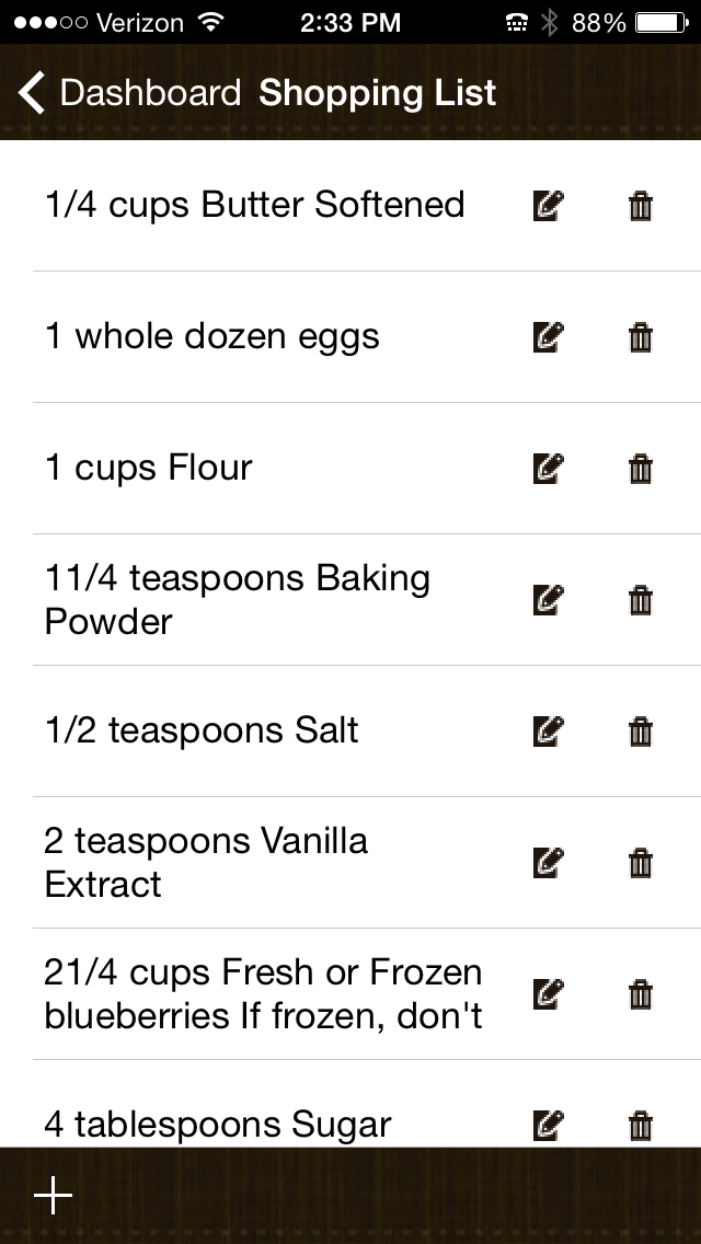 recipe with shopping list