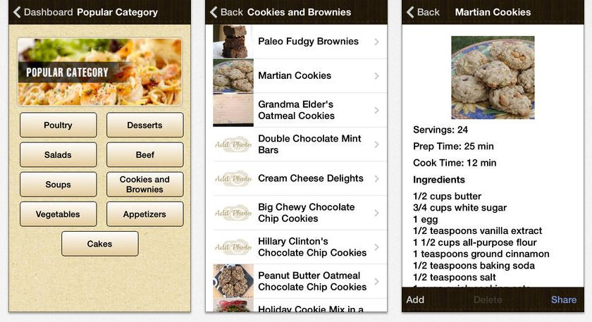 iphone screenshots from Dish Dish online cookbook app, recipe organizer app, organize recipes online