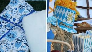 oktoberfest party, oktoberfest menu ideas, german recipes, blue and white tablecloth, dish dish online cookbook