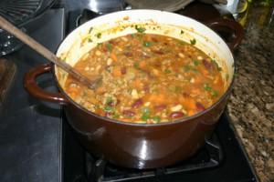 colorful chili recipe, crockpot recipe, tailgating recipe