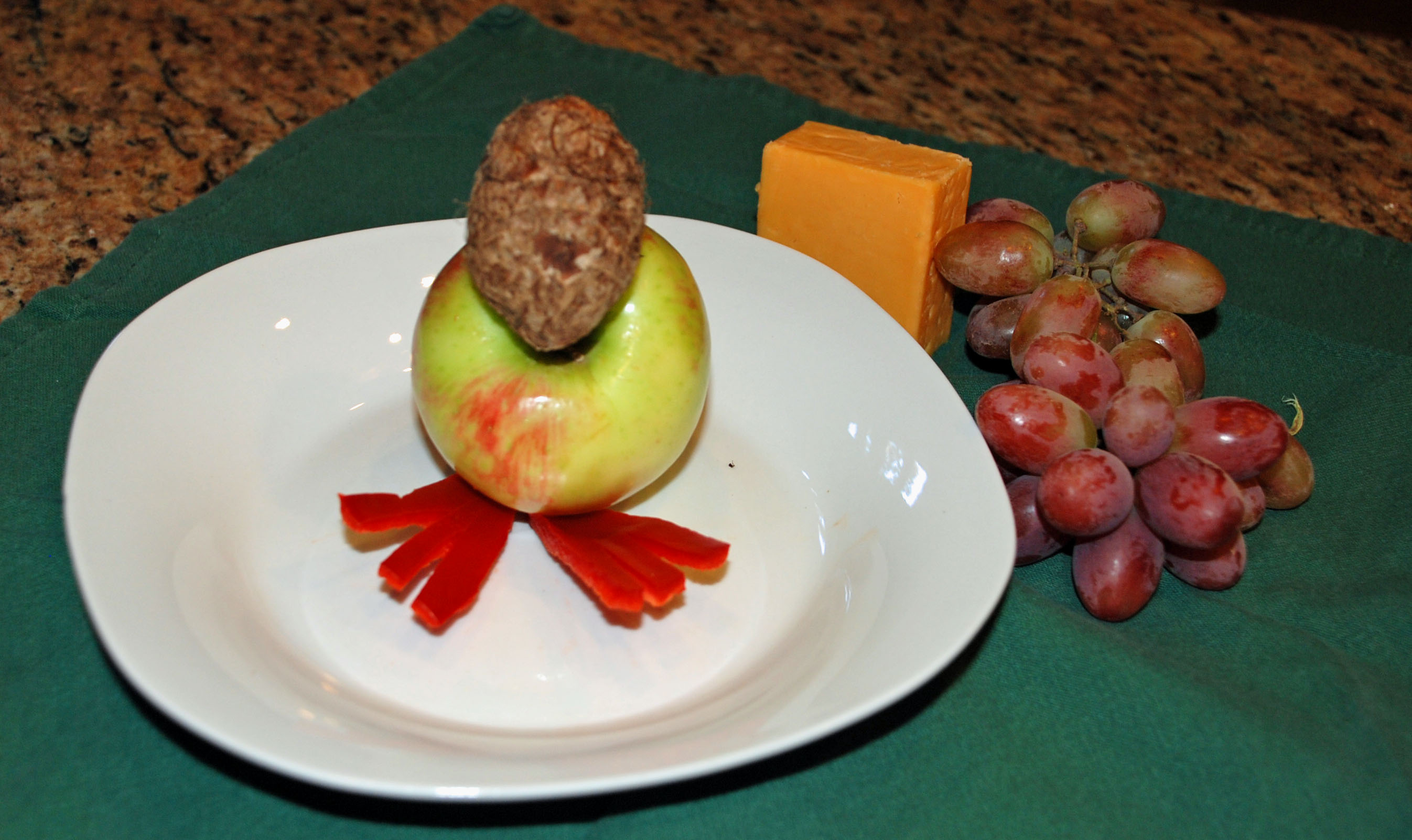 how to make fruit and cheese turkey tabletop decor, grapes and cheese on  turkey,