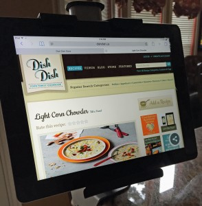upper desk kitchen tablet holder mount, tablet holder, view recipes on tablet, online recipe organizer,