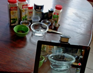 upper desk tablet holder, italian seasoning, tablet holder in kitchen, cooking with spices, organize recipes online