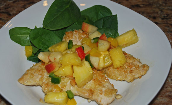 macadamia crusted chicken with pineapple apple salsa, chicken recipes, tropical dinner, healthy recipes, online recipe organizer