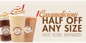 scooters half off caramelicious drinks