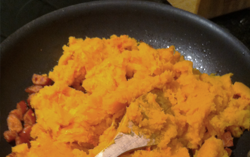 roasted squash and sausage, one skillet recipe, healthy dinner recipe