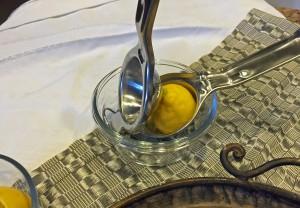 lemon half in lemon press, lemon squeezer, juice extractor, healthy recipes