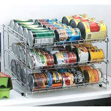 can rack with cans on pantry shelf