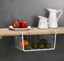 wire basket under shelf storage in pantry