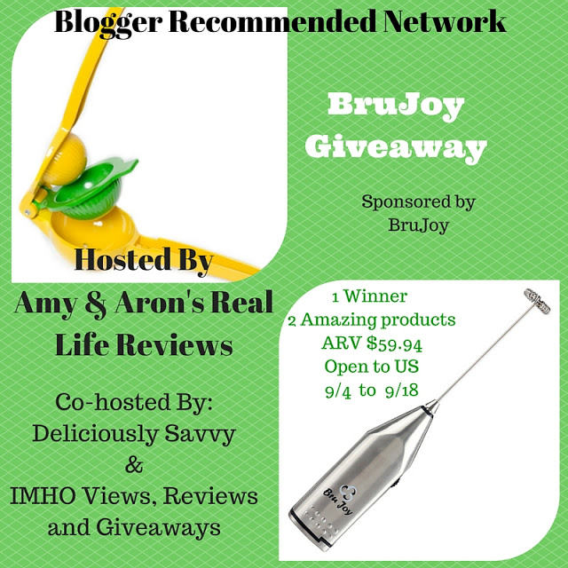 Bru Joy Giveaway, double citrus press, milk frother, product giveaway