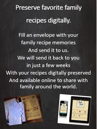 digitally preserve recipes, family heritage, online cookbook