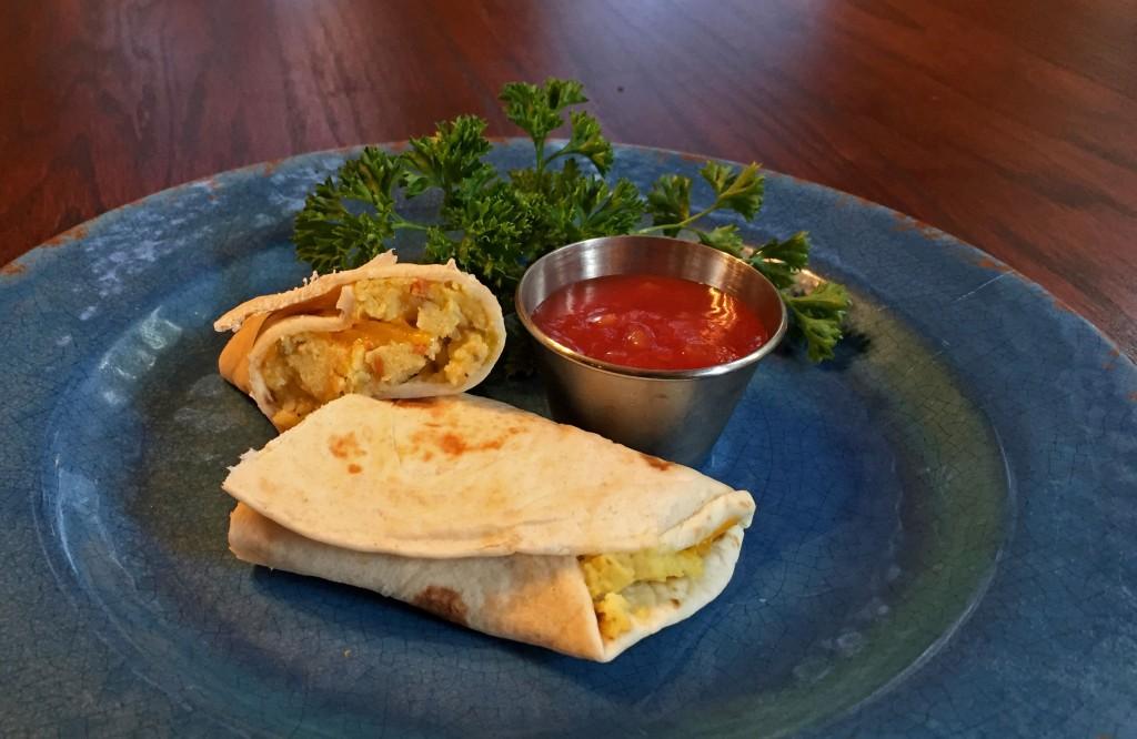 breakfast burrito on plate with salsa, breakfast recipe
