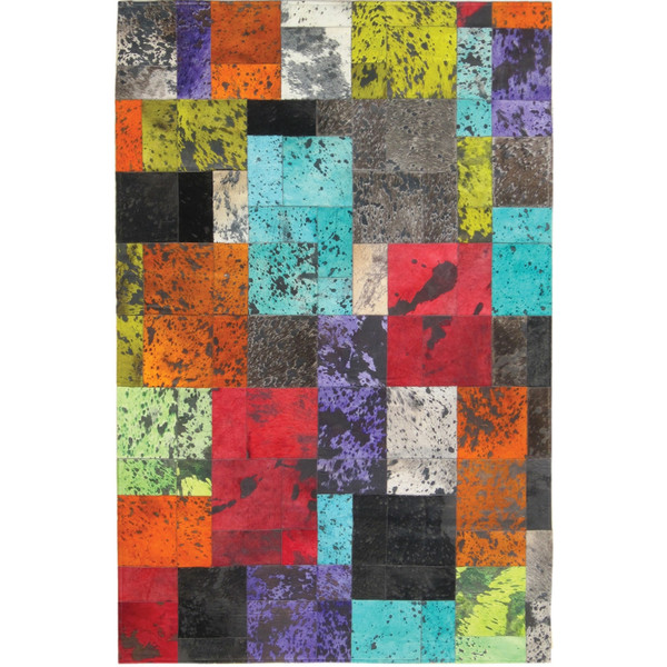 colorful patchwork cowhide rug, posh rugs, home decor