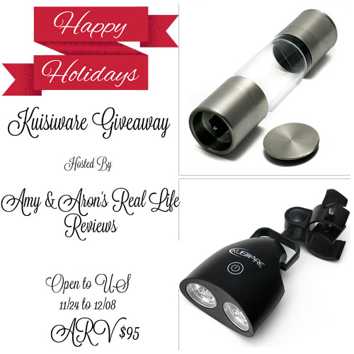 kuisiware giveaway, holiday giveaway, grill light, pepper grinder