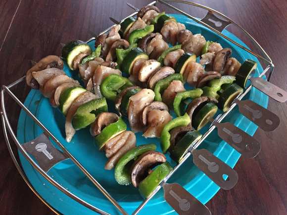 cave tools kebab set, kabob set with chicken and vegetables