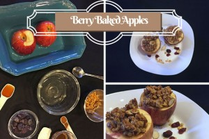 berry baked apples collage, easy dessert recipe