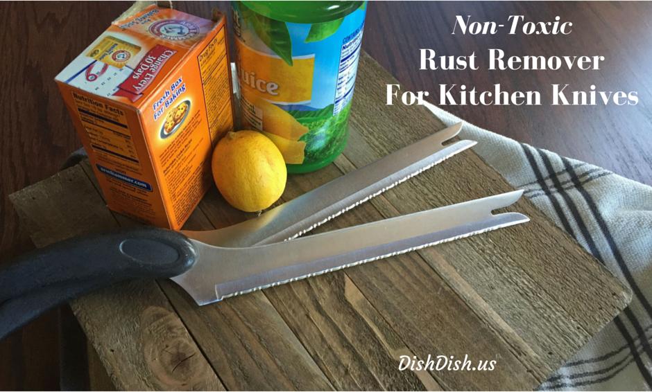 All natural non-toxic rust remover, kitchen knives, lemon, baking soda