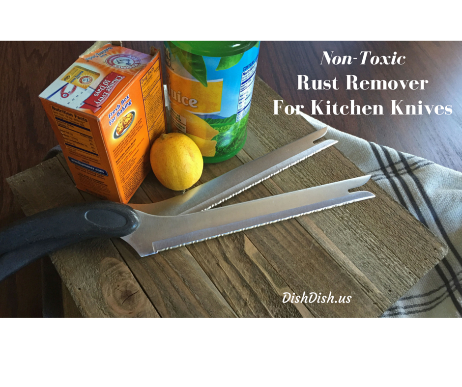 All natural non-toxic rust remover, kitchen knives, lemon, baking soda