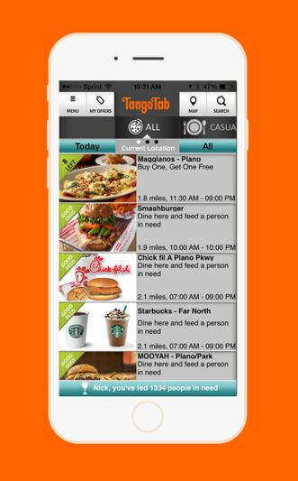 tango tab app, end hunger, food banks