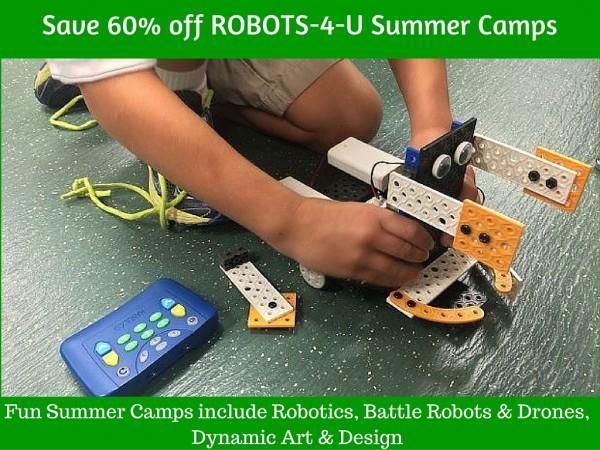 Save 60% off Robots-4-U summer camps, robotics, discounts