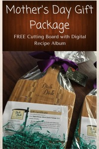 mothers day gift package, gift idea, cutting board and recipes
