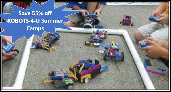 discount off robots-4-u summer camp, robotics camp, dallas