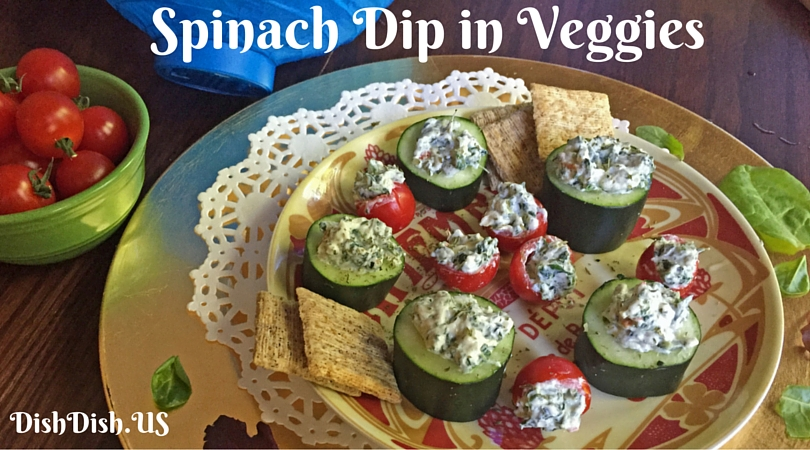 Spinach Dip in Veggies by Dish Dish