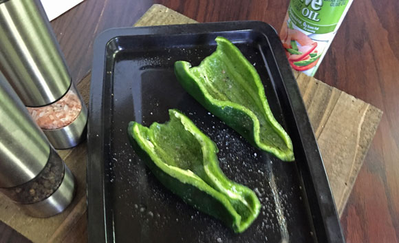 Stuffed Poblano Peppers Recipe, halved poblano peppers
