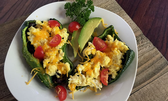 Stuffed Poblano Peppers Recipe, beans and eggs in poblanos