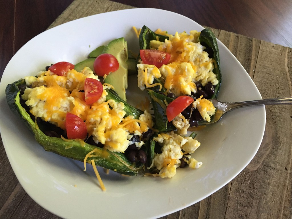 Stuffed Poblano Peppers recipe, easy dinner or breakfast recipe