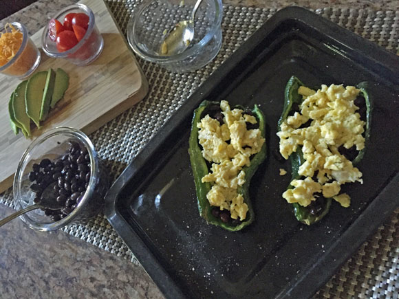 Stuffed Poblano Peppers recipe; filled with beans and eggs