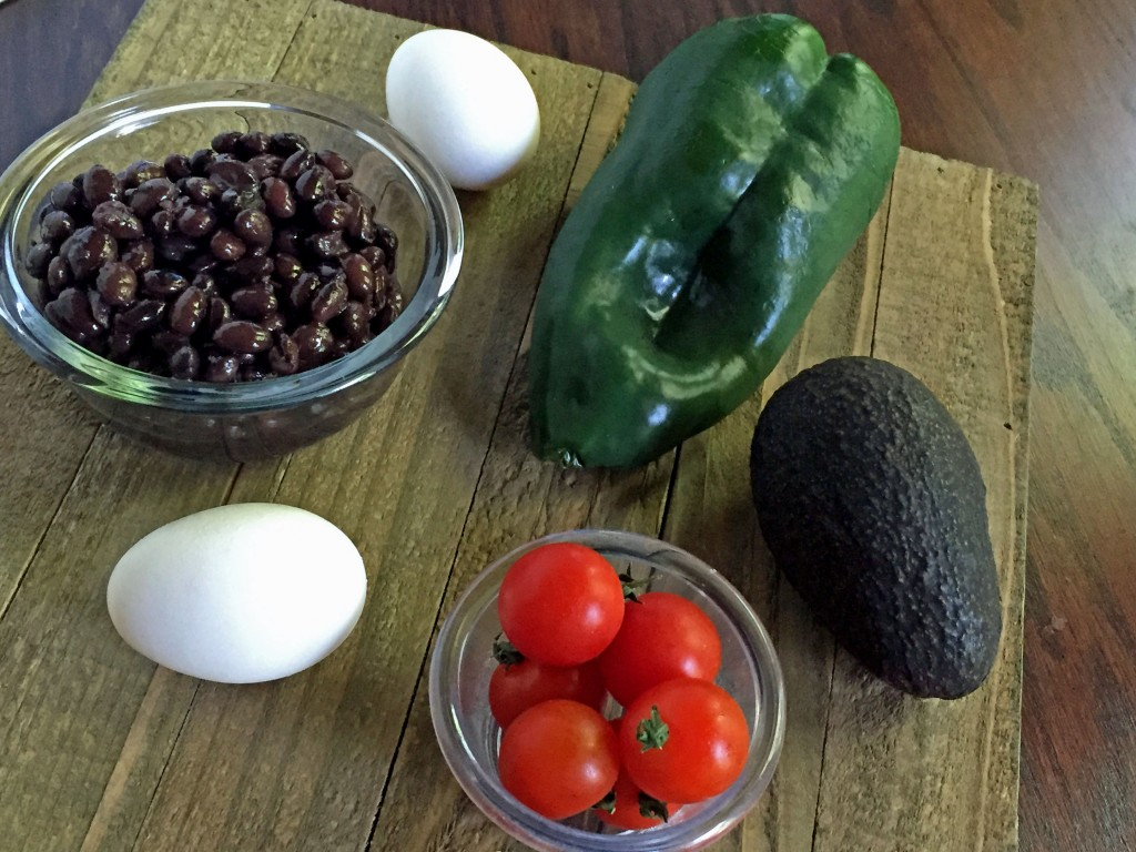 Stuffed Poblano Peppers Recipe, bean and egg filled poblanos