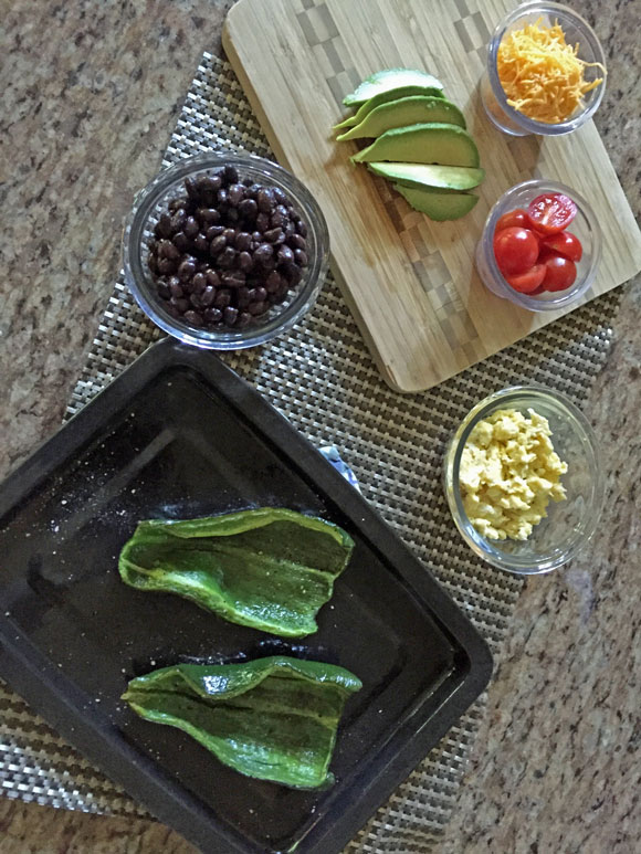 Stuffed Poblano Peppers recipe; roasted poblanos with beans and eggs