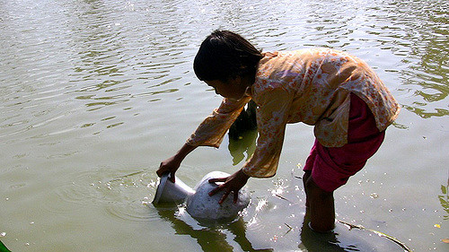 child gathering water from pond - healthy drinking water