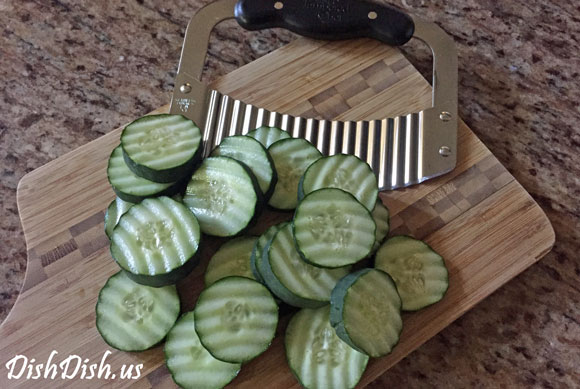 Wavy Sliced Cucumbers with Crinkle Cutter