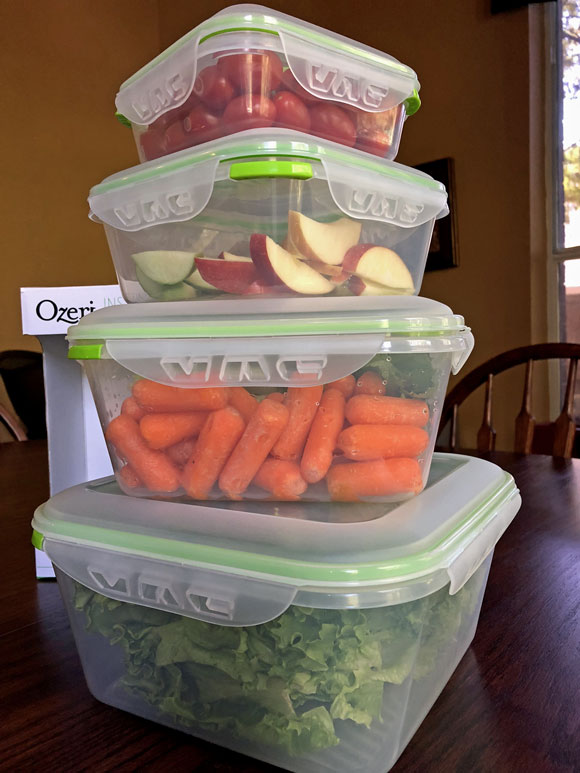 Ozeri food storage containrs filled with fresh food