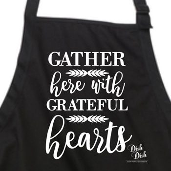 Gather with Grateful Hearts baking apron design