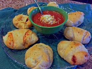 Pepperoni Pizza Rolls with Pizza Dipping Sauce