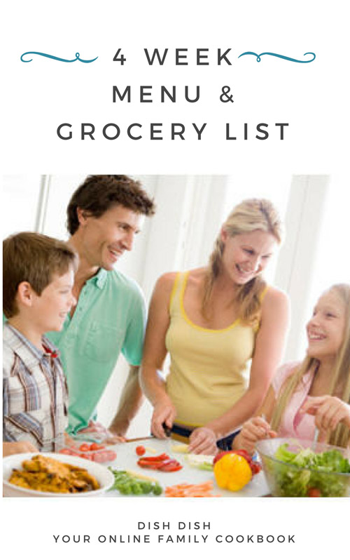 4 Week Menu Plan and Grocery List