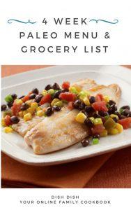 4 Week Paleo Menu Plan with Grocery List