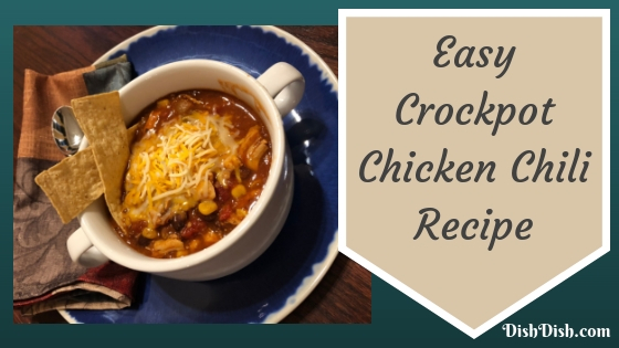 Crockpot Chicken Chili Recipe in bowl on table